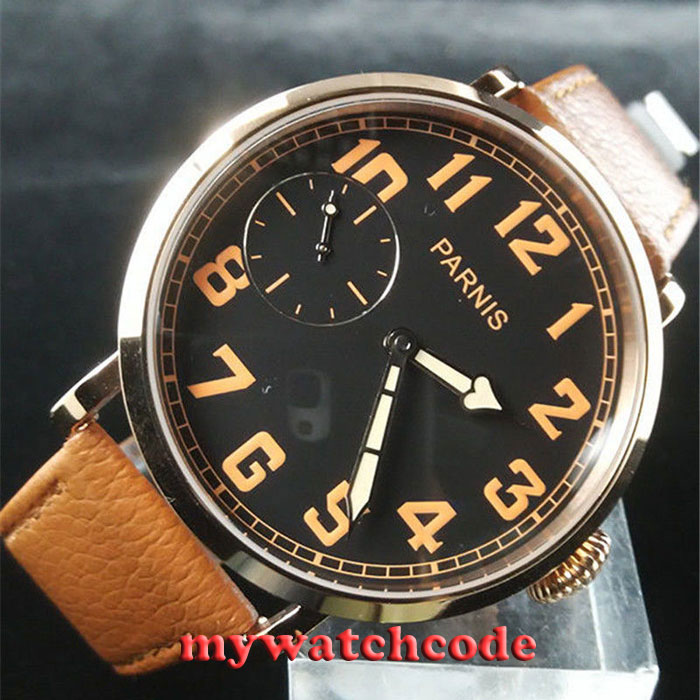 46mm parnis black dial Rose Gold 17 jewels 6497 hand winding mens watch P40546mm parnis black dial Rose Gold 17 jewels 6497 hand winding mens watch P405