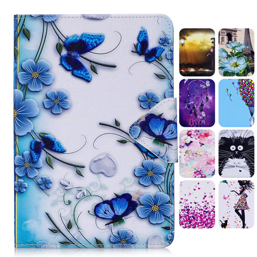 Misolocat for Apple iPad Air 2 Case Stand Flip Cover Tablet Capa PU Leather Magnet Funda Coque Cartoon Girl Flower