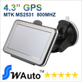 Wholesale  4.3 inch Car GPS Navigator  FMT 4GB Flash 800MHZ CPU  Free Europe USA AU Russia  3D map