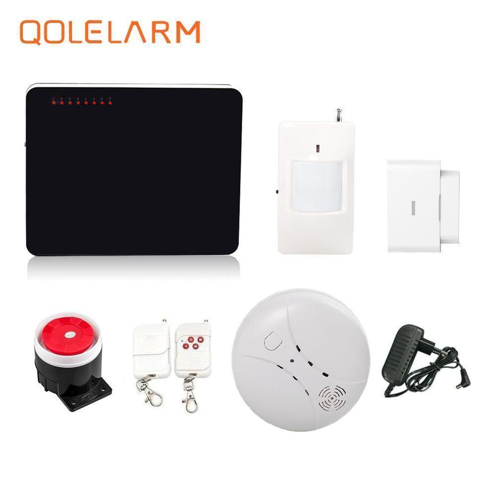433mhz wireless call GSM SMS alarm systems security home with fire alarm smoke detector PIR motion sensor Russian voice prompt voice prompt wireless wired sms gsm alarm system home auto security systems with pir door alarm sensor app control device kit