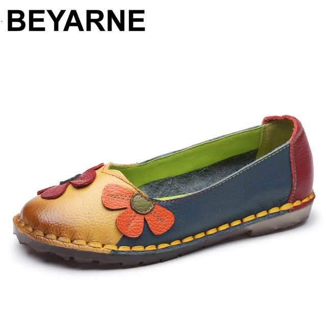 BEYARNE Summer Autumn Fashion Flower Design Round Toe Mix Color Flat Shoes Vintage Genuine Leather Women Flats Girl Loafer