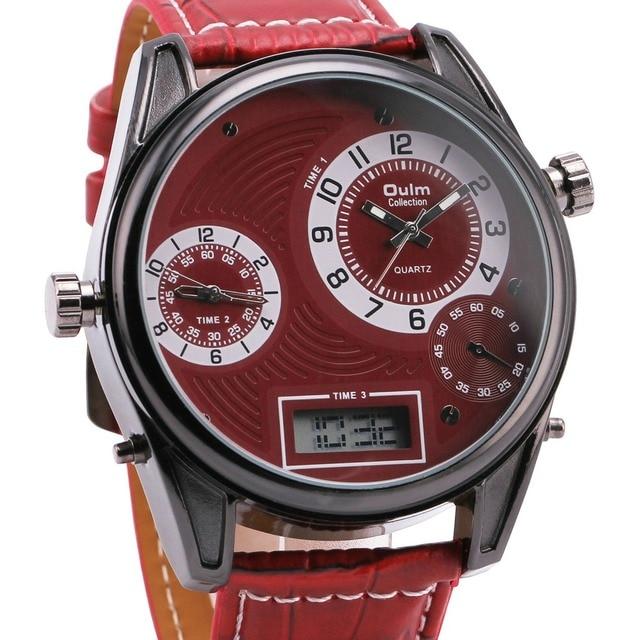 Men's Quartz-watch Analog Digital Dual Movement 3 Time Zone Wristwatch Leather Strap 2016 Sports Military Gift Watches+ Box