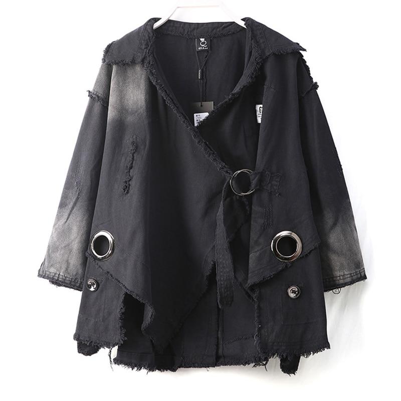 Survêtement Grande Taille 2019 17692 Automne Plus Veste Jean Noir Femmes Black La longdeng Manteau Nouveau Foncé Denim Personnalité Gradient 5Yqxw1016