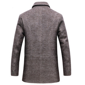 Image 4 - Dropshipping new spring autumn Mens Casual Wool Trench Coat Fashion Business Long Thicken Slim Overcoat Jacket Male Peacoat