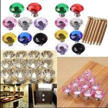 Fashion Diamond Crystal Glass Door Knobs Drawer Cupboard Cabinet Handle Pulls