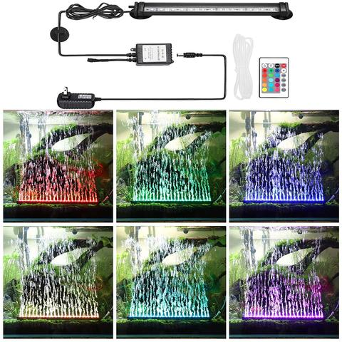 LED Aquarium Light IP68 Waterproof Fish Tank Lights Mutil-Color Air Bubble Dimmable Submersible Underwater Lights with Remote Pakistan