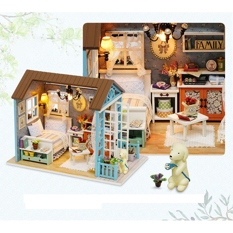 LED Light Miniature Furniture Doll House Dollhouse DIY Kit Wooden House Puzzles Model Toy for Kids Birthday Christmas Gifts (3)