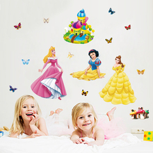 3D colorful princess wall stickers for baby room removable kids bedroom nursery decals cartoon home decor pictures