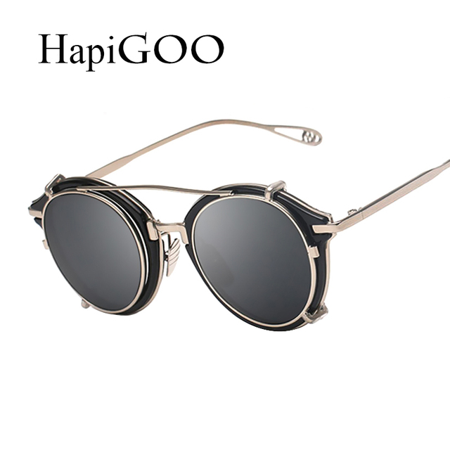 6e5c783ec87 HapiGOO Fashion Gothic Steampunk Sunglasses Women Men Myopia Glasses Frame Vintage  Punk Mirrored Sun Glasses