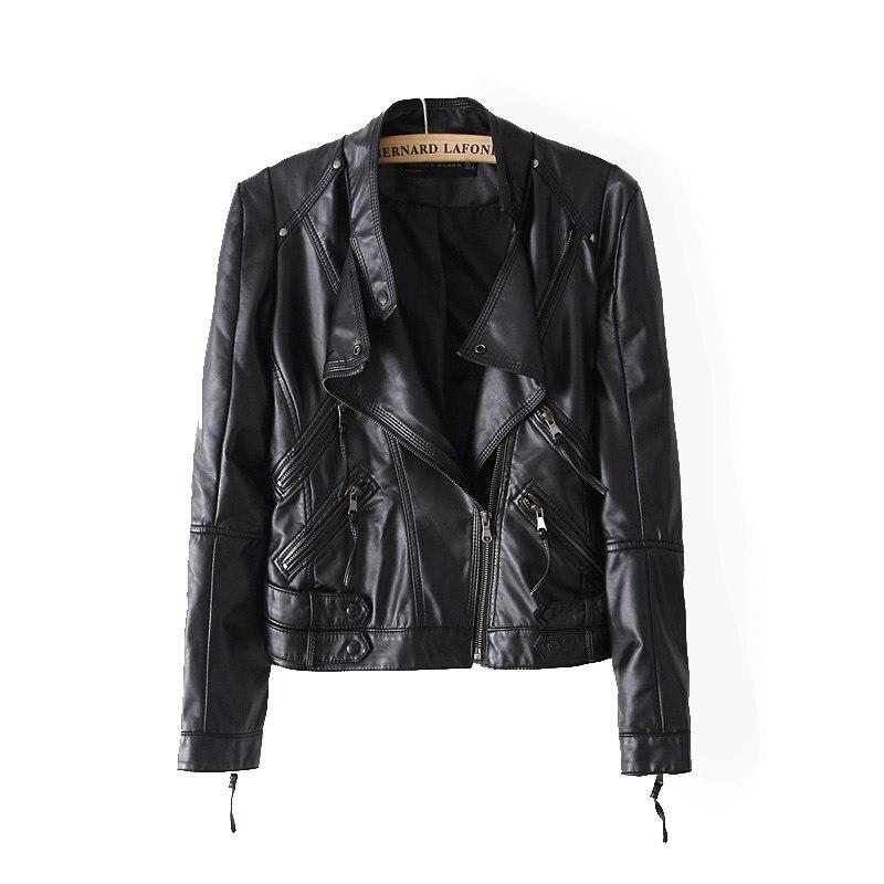 Leather Jacket Women Leather Jackets Coat Slim Biker Motorcycle ...