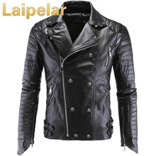 Fashion Mens Winter Leather Jackets Faux Jacket Punk Style Slim Fit Coats Men Moto Skull Suede For Laipelar