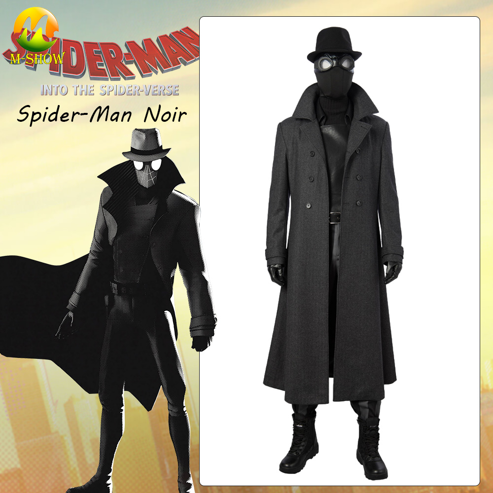Spider-Man: Into the Spider-Verse Noir Cosplay Costume Nicolas Cage Superhero Full Set Outfit Spiderman Cosplay Custom Made