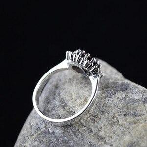Image 4 - Véritable pur anneau 925 en argent Sterling Simple mode femmes anneaux naturel grenat pierre Fine bijoux Anillo Compromiso