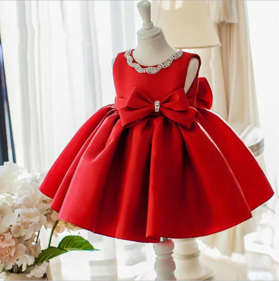 Newborn Baby Girl Dress Sequin Red Lace Tulle Baby Christening Party Princess Gown Bow 1 year