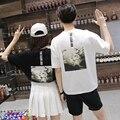 Camisa casal Verão 2016 Moda Mr Mrs Boa Vida Graphic Tees Casual de Manga Curta T-Shirt Dos Homens E Mulheres Casal Roupas