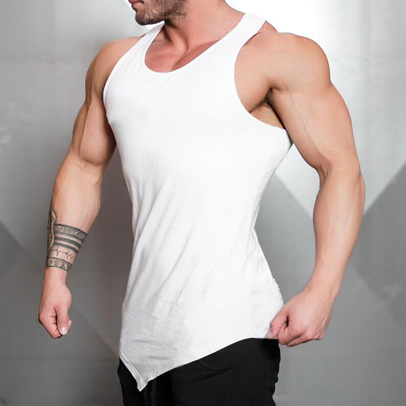Brand Solid Color Clothing Gyms   tank     top   men Fitness Sleeveless Shirt Cotton blank Muscle vest Bodybuilding Stringer Tanktop