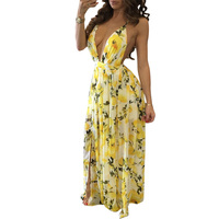 New 2017 summer women floor-length dress sexy deep V-neck floral print open sling slim fit bodycon dress vestidos HD063