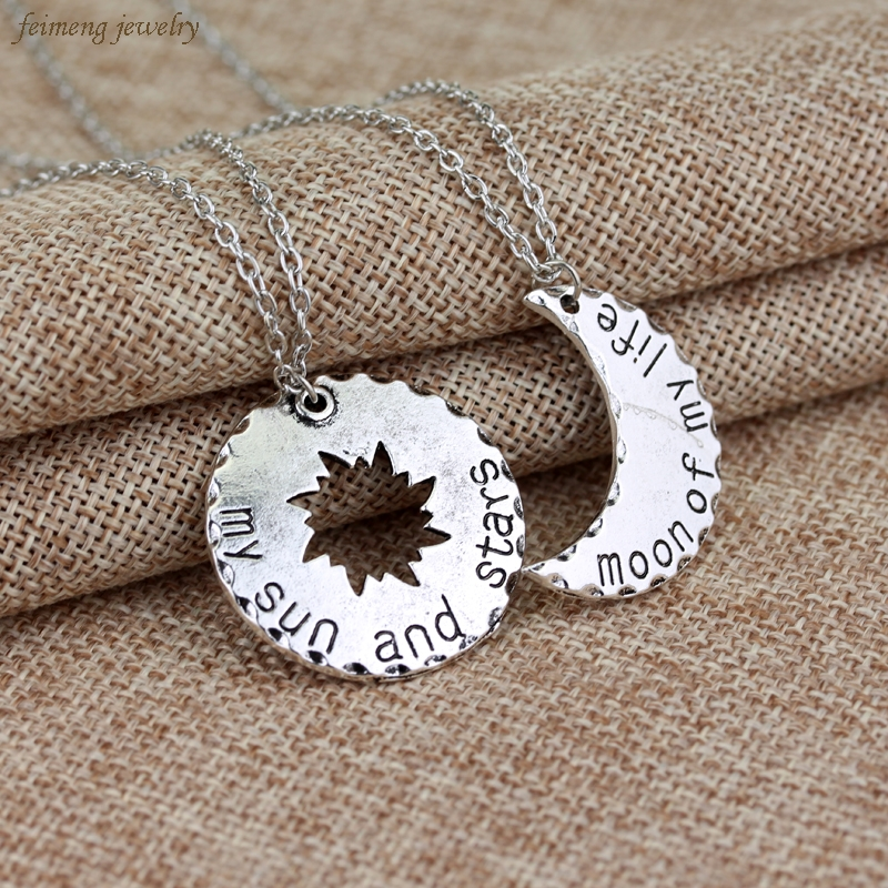 Game of Thrones Set of 2 His/Hers KHAL/KHALEESI Sun & Moon PENDANTS The Moon of My Life And The Sun And Stars Jewelry For Lovers