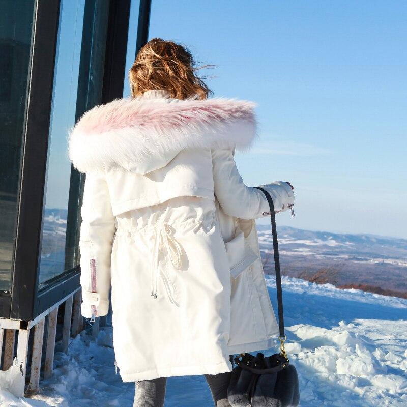12 Delgada Invierno 11 Chaquetas 2018 Fit Real Otoño Cintura Pato 15 Blanco Raccoon 13 Abajo Loose Collar Moda Perro Fur Mujeres Abrigos UOqW4wxFTH