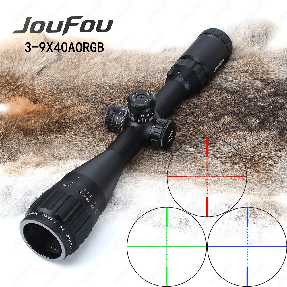 JouFou 3-9x40 AOE Hunting Riflescope Mil Dot RGB Illuminated Tactical Optics Sight Full Size Wire Reticle Rifle Scope with Rings joufou 4 16x44 sf hunting riflescope mil dot wire reticle tactical optical sight side parallax tactical rifle scope