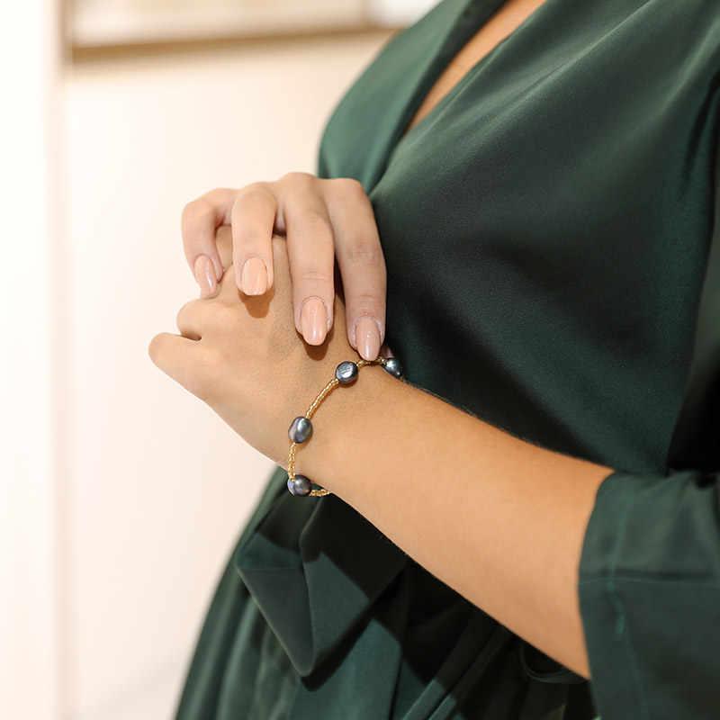DMCBFP020 9-10 มม.ไข่มุกสร้อยข้อมือของขวัญเครื่องประดับสำหรับผู้หญิงเครื่องประดับ Fine