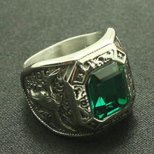 Cool Men Boys 316L Stainless Steel Silver Cowboy Hat Rhinoceros Horn Green Stone Ring Great Gift For Friend(China)