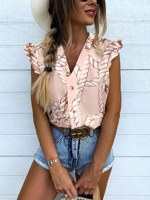 2019 Summer Women Elegant Vacation Leisure Top Female Holiday Girls Sweet Shirt Pineapple Print Flutter Sleeve Casual Blouse 16