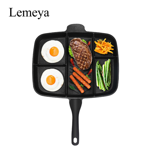 """Wholesale Fryer Pan Non-Stick 5 in 1 Fry Pan Divided Grill Fry Oven Meal Skillet 15"""" Black"""