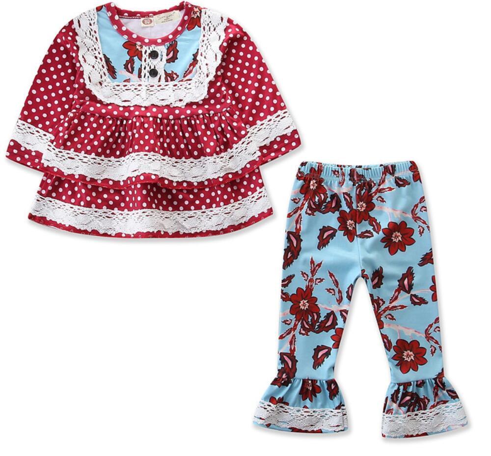 5sets/lot Toddler Girl clothing sets kids clothes (shirt +pants) flower girls skids set 1-5T sylvia 586670162443