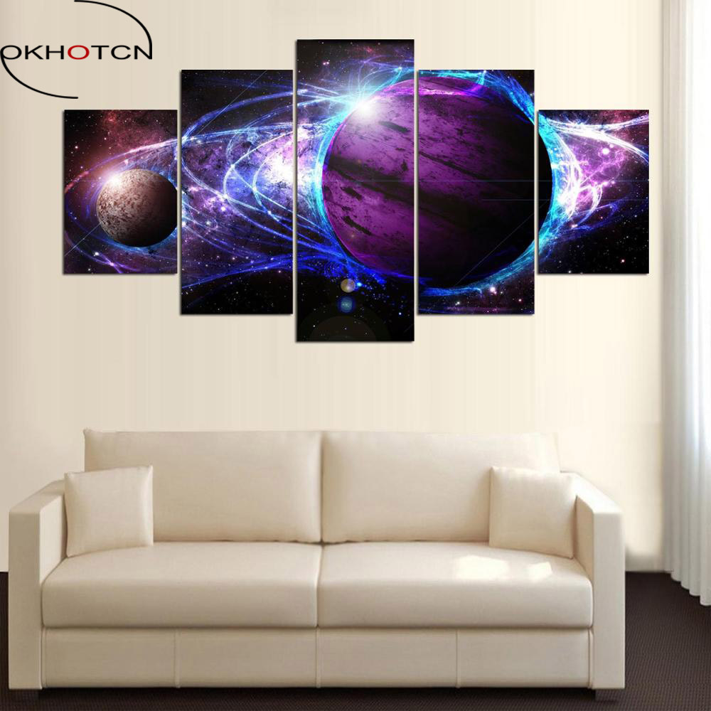 okhotcn framed canvas painting cosmos galaxy pictures for. Black Bedroom Furniture Sets. Home Design Ideas