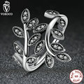 Authentic 925 Sterling Silver LEAVES SILVER RING with CUBIC ZIRCONIA Original  Jewelry A7114