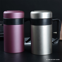 500ミリリットル二重壁飲料マグ真空カップsus 304ステンレス鋼のティーカップでハンドルプロコーヒーマグ断熱トラベルボト