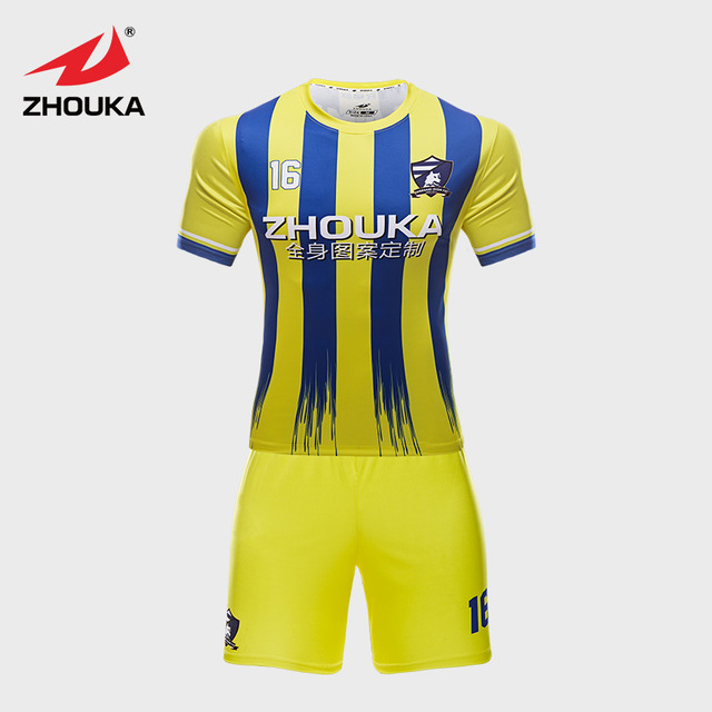 452f4d530 Custom Stripes Soccer Uniform Yellow Blue Color Mix Sublimation printing Soccer  Jersey With Personal Name Number