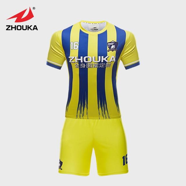 46c8856d5d8fa Listras personalizado Uniforme de Futebol Amarelo Azul Cor Da Mistura  impressão Por Sublimação Futebol Jersey Com