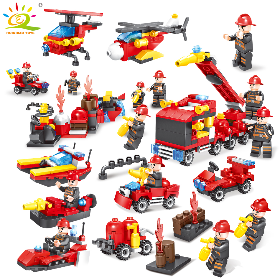 376pcs Fire truck Firefighter City rescue Helicopter Building Blocks Compatible Legoed city Educational Bricks children boy Toys kazi new 774pcs city fire station truck helicopter firefighter minis building blocks bricks toys brinquedos toys for children