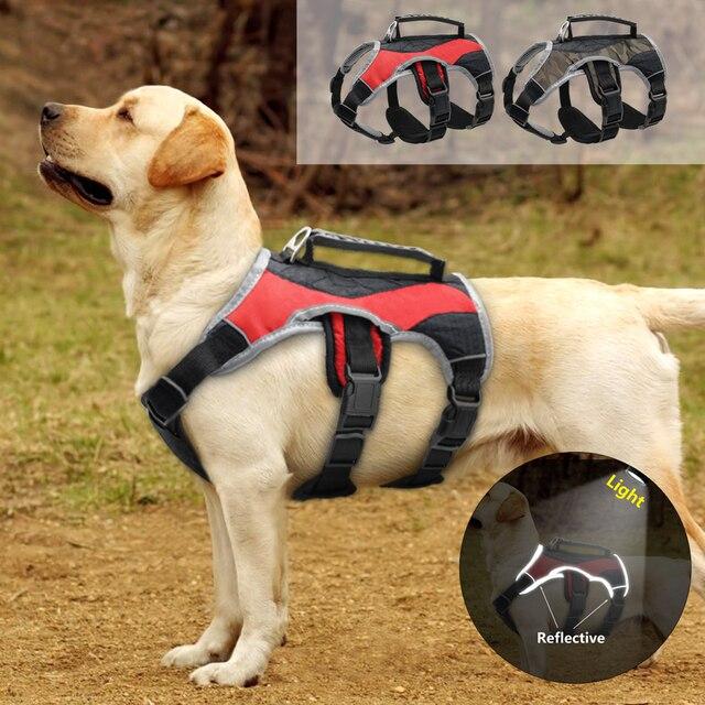عاكس الكلب تسخير الكلاب الكبيرة K9 الرسن تسخير الحيوانات الأليفة شبكة سترة مع رفع مقبض تحكم سريع للمشي لابرادور هاسكي