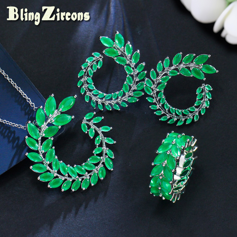 BlingZircons Fashion 3 Pcs Green Olive Branch Marquise Cubic Zirconia Leaf Ring Earring Necklace Jewelry Set For Women JS115