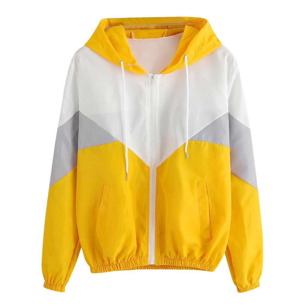 Windbreaker Jacket Rain Coat Long Sleeves Patchwork Hooded Zipper Pockets Sport Coat Female Autumn Fitness Style Tops #YL10