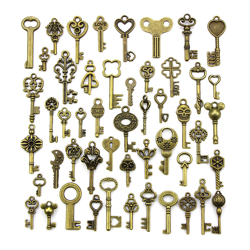 Mix Antique Bronze Old Look Bronze Keys Vintage Pendant Metal Charms Decorations Diy Pendant Jewelry Findings 50PCS
