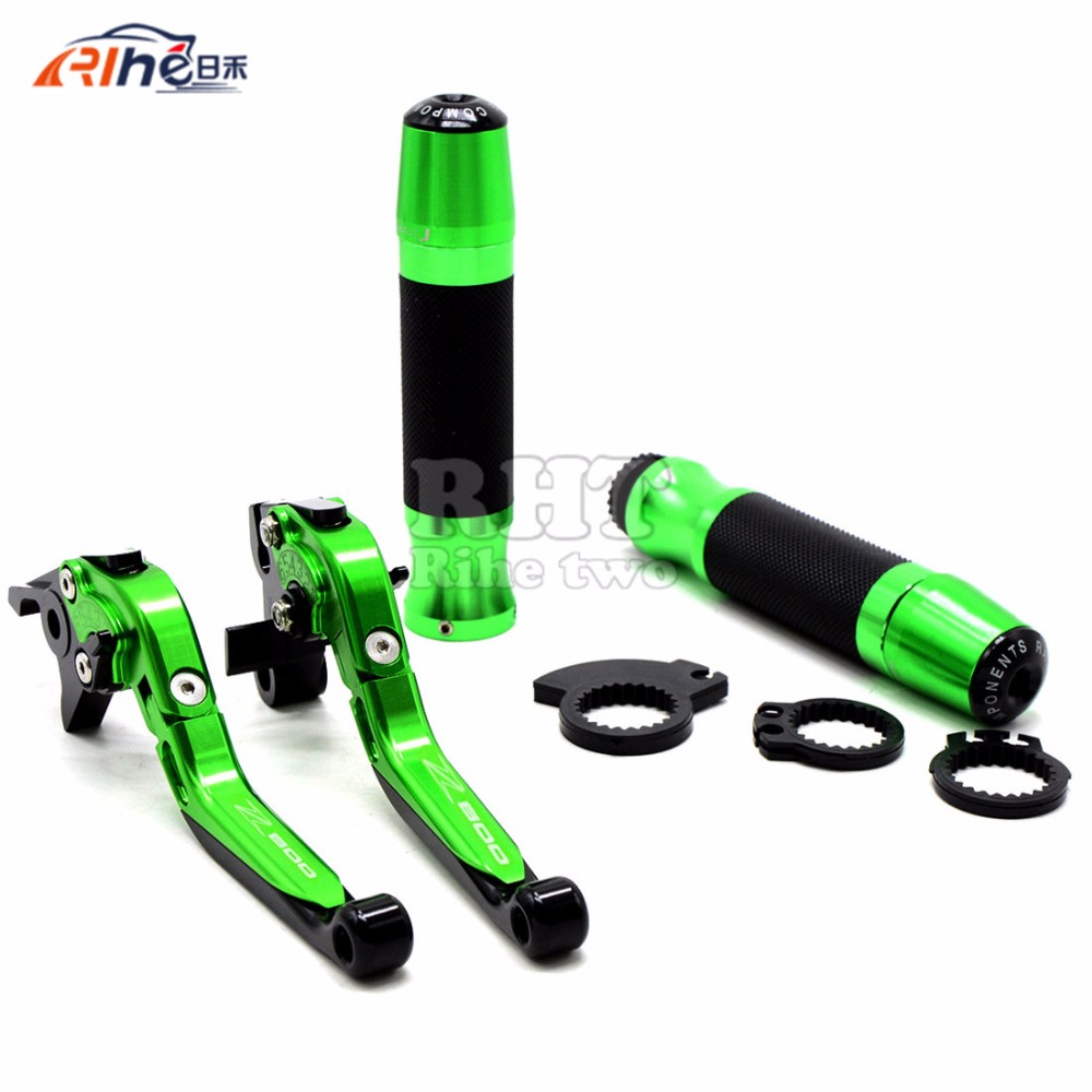 With Z800 logo Motorcycle Handle Bar Grips Adjustable CNC Brakes Clutch Levers For Kawasaki Z800/E version 2013 2014 2015 Green with z1000 logo motorcycle folding & adjustable brake clutch levers and handle grips for kawasaki z1000 2003 2004 2005 2006