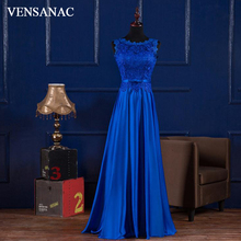 VENSANAC 2018 O Neck Lace Embroidery A Line Long Evening Dresses Elegant Party Tank Bow Sash Satin Prom Gowns
