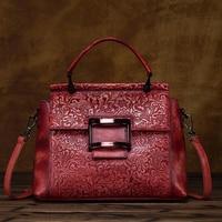 100% Real Leather Women Designer Handbags Embossing Cowhide Genuine Leather Women Shoulder Messenger Bag Elegant Tote Handbag