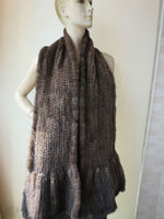 Elegant /180*20 Wonderful real knitted mink fur scarf fishtail /scarf/ shawll/Brown /black /2color