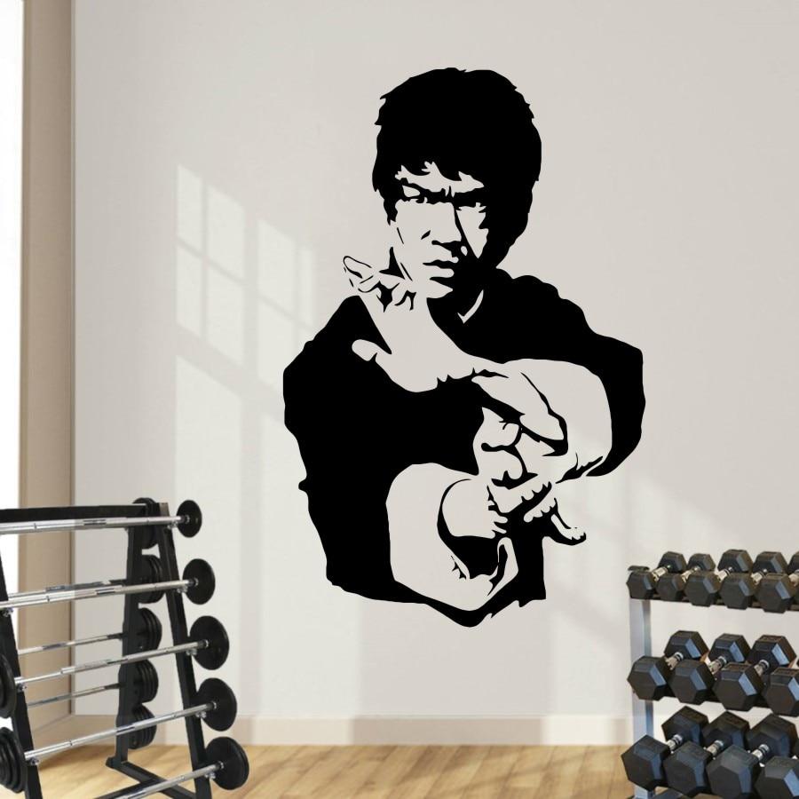 Kung fu star Bruce Lee pegatinas de vinilo de alta calidad etiqueta de la pared Arte decoración del hogar dormitorio papel tapiz murales F-81