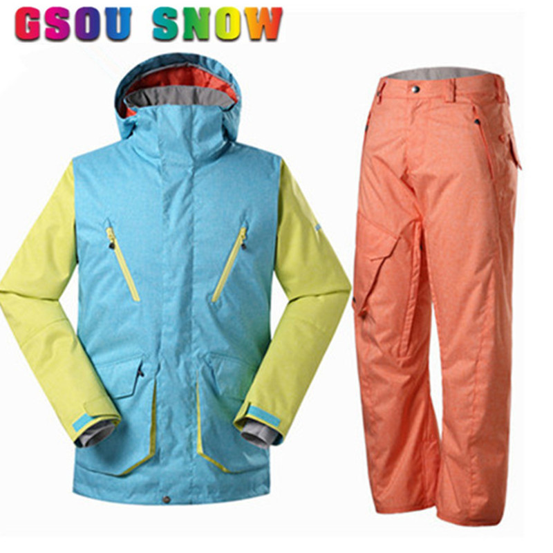 Ski Suit Men Snow Jacket+Pants High Quality Thicken Thermal Waterproof Windproof Winter Outdoor Sports Clothing Free Shipping