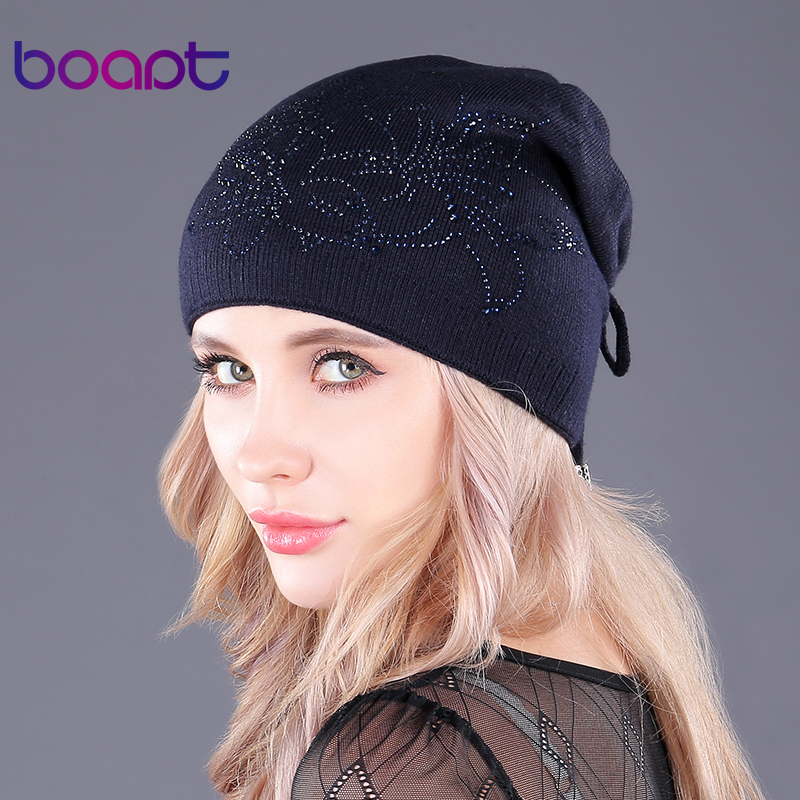 [boapt] Rope With Back Double-deck Cotton Knitted Caps For Women's Hats Diamond Flower Female Warm Winter Hat Skullies Beanies