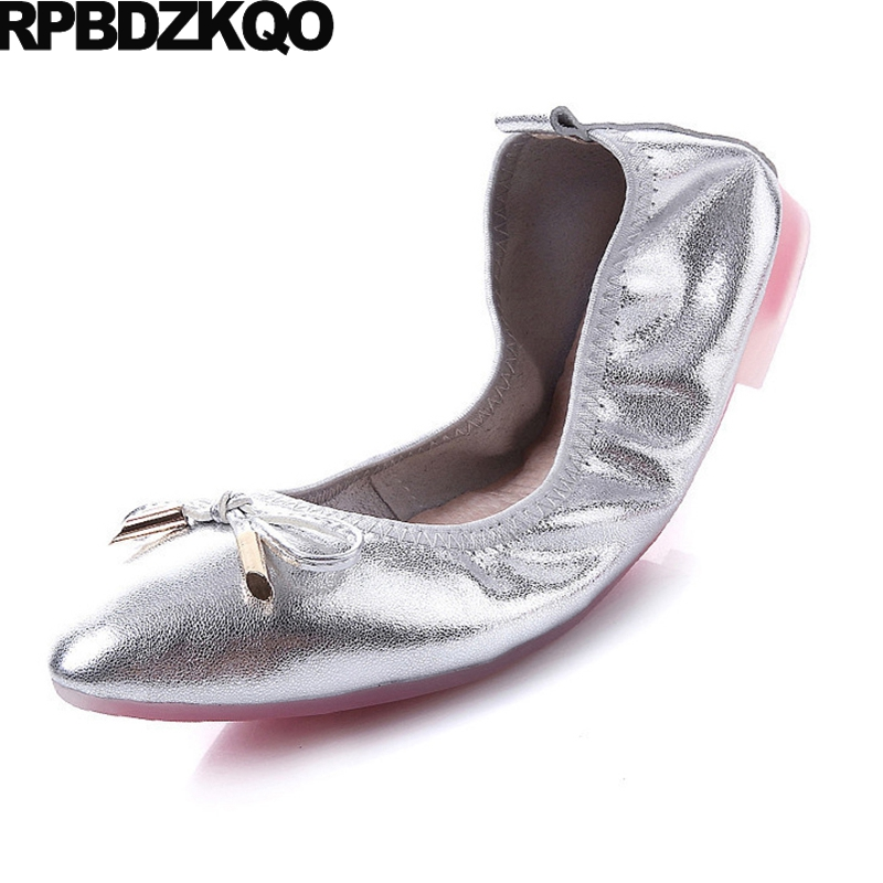 Ladies Beautiful Flats Shoes Chinese Elastic Pointed Toe Silver 2017 Comfortable Slip On Spring Autumn Bow Roll Up China Latest bow elastic round toe women slip on latest suede flats big designer shoes china chinese fashion beautiful european drop shipping
