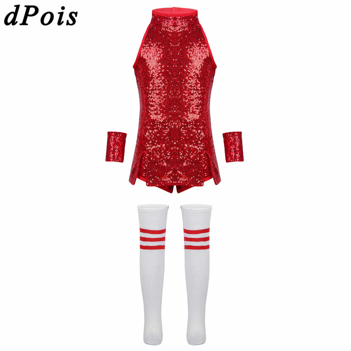 7fd705bde8da3 Kids Children Hip Hop Dance Costume Sparkly Stage Jazz Cheerleading Costumes  Suit Set Girls Tops Shorts