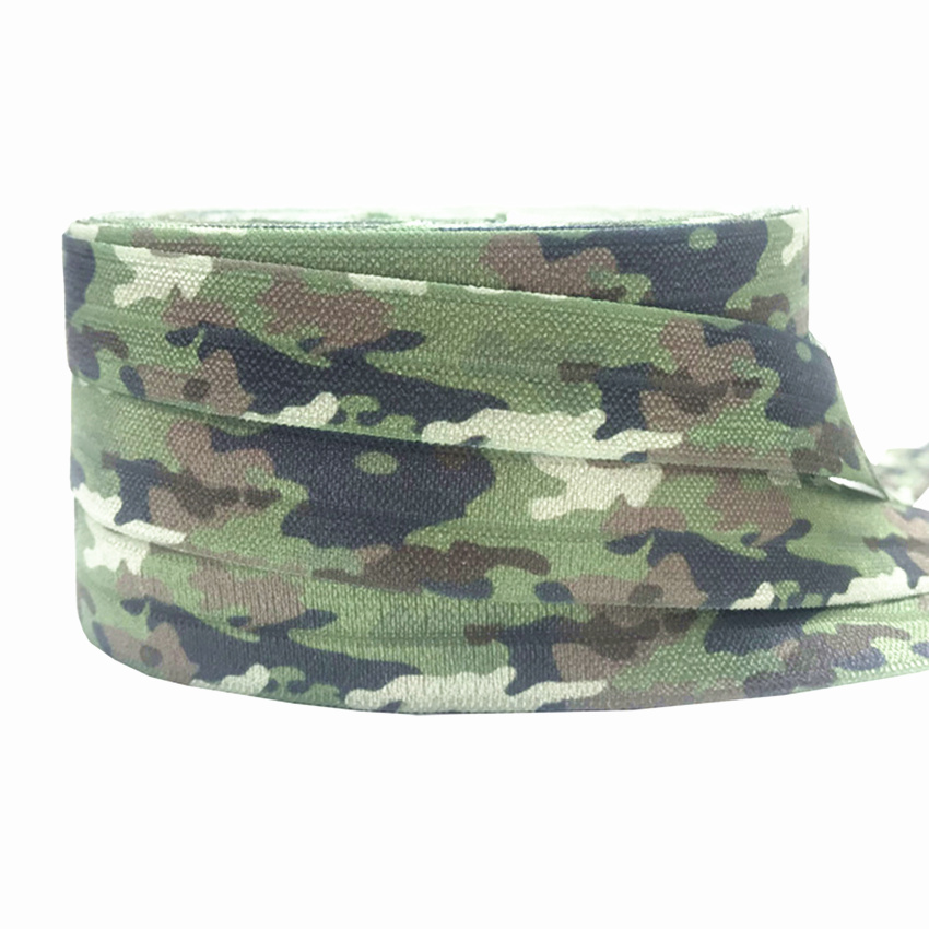 Camouflage Print Fold Over Elastic Animal FOE Ribbon Headwear Party Gift Packing Sewing Home Decoration Accessories