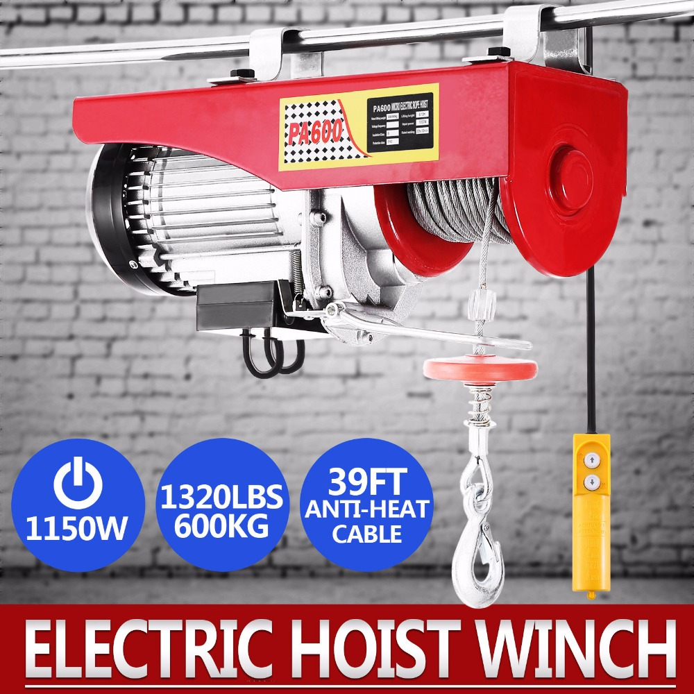 Electric Hoist 1320lbs Mini  Crane Overhead Garage Winch Remote Control Auto LiftElectric Hoist 1320lbs Mini  Crane Overhead Garage Winch Remote Control Auto Lift